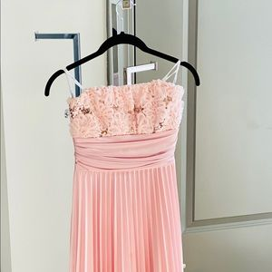 Baby pink off-shoulder bridesmaid gown
